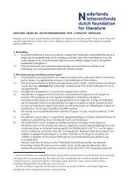 Regeling Projectwerkbeurzen voor literaire vertalers - Nederlands ...