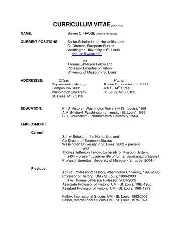 curriculum vitae - Department of History - Washington University in ...