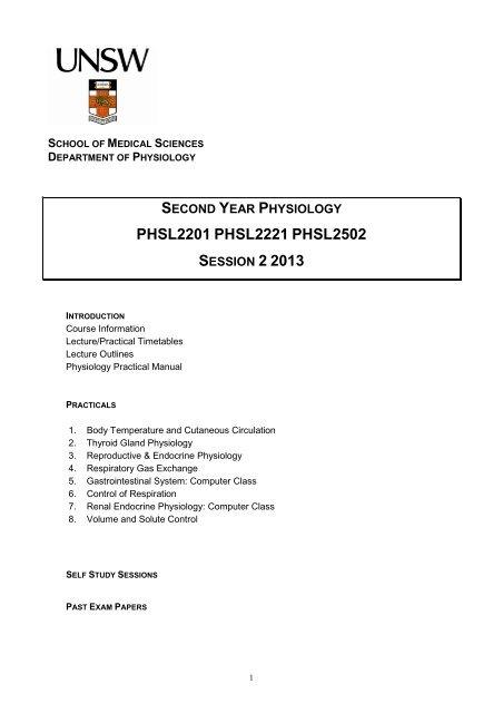 PHSL2201/2221/2502 - School of Medical Sciences