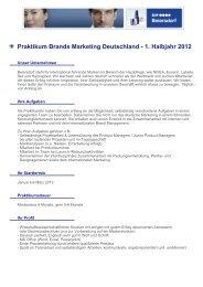 Praktikum Brands Marketing Deutschland - 1. Halbjahr 2012