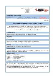 Ausschreibung zum Trainergrundkurs 2009/10