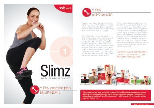 Slimz Exercise Chart Beginners