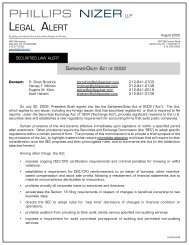 Legal Alert - Sarbanes-Oxley Act of 2002 ... - Phillips Nizer LLP