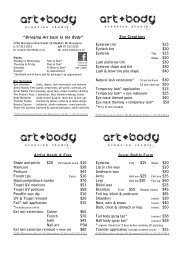 View Price List - beauty service, tattoo, body art, tauranga, mount ...
