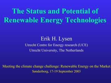 The Status and Potential of Renewable Energy Technologies