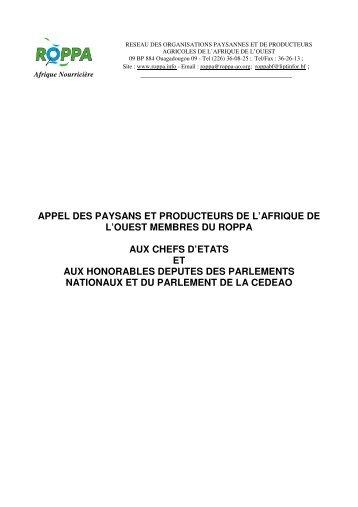 APPEL DES PAYSANS ET PRODUCTEURS DE L'AFRIQUE ... - CSA