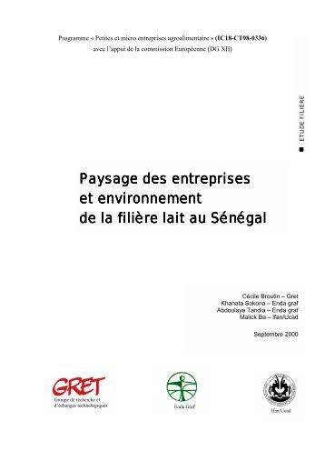 Paysage des entreprises et environnement de la filière lait au ... - CSA