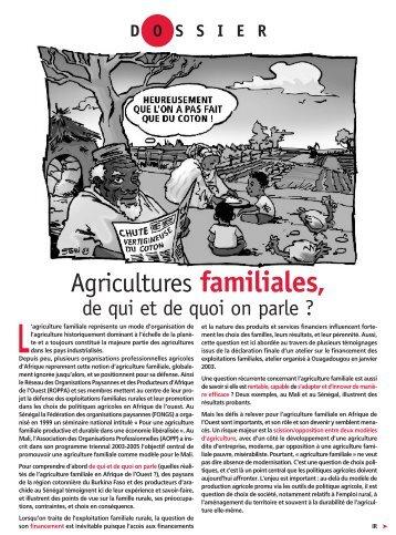 Agricultures familiales, quelles caractéristiques - CSA
