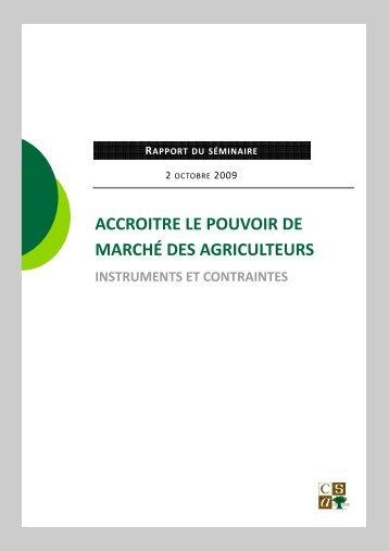 Accroitre le pouvoir de marche des agriculteurs. Instruments ... - CSA