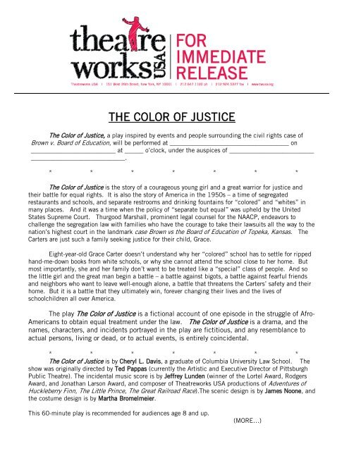 The Color Of Justice Theatreworks Usa
