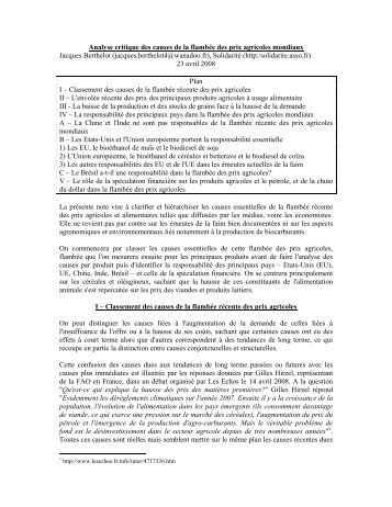 Analyse critique des causes de la flambée des prix agricoles ... - CSA