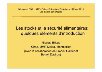 Stocks et Sécurité Alimentaire : Eléments d'introduction - CSA