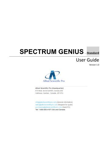 Spectrum Genius User manual - Allied Scientific Pro