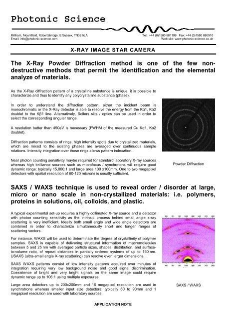 X-ray Image Star - Photonic Science
