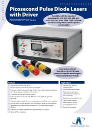 Picosecond Pulse Diode Lasers with Driver ... - ALPHALAS