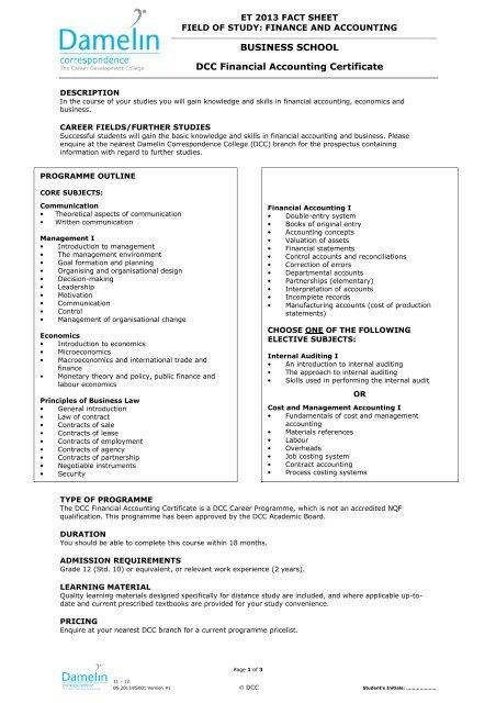 Dcc Financial Accounting Certificate Damelin