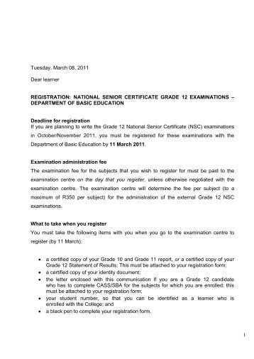 NATIONAL SENIOR CERTIFICATE GRADE 12 EXAMINATIONS