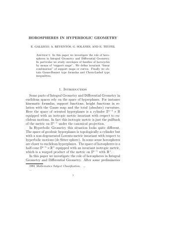 HOROSPHERES IN HYPERBOLIC GEOMETRY 1. Introduction ...