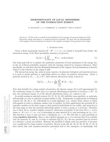 DIMENSIONALITY OF LOCAL MINIMIZERS OF THE INTERACTION ...