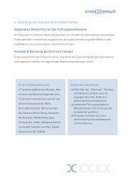 Kurzinformation 6. Regionales Frankfurter Mentoring - Cross Consult
