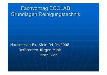 Fachvortrag ECOLAB Grundlagen Reinigungstechnik