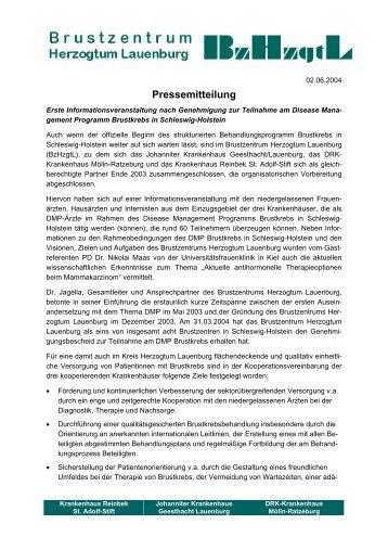 Pressemitteilung - Brustzentrum Herzogtum Lauenburg