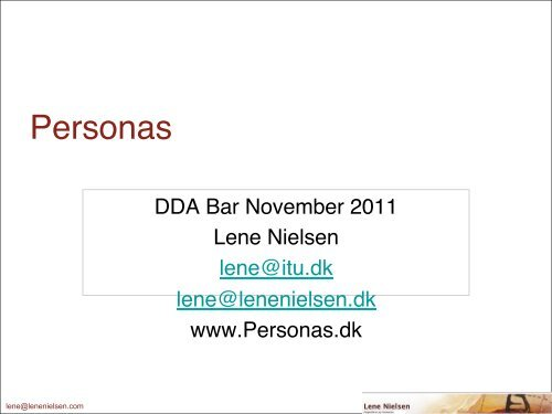 Personas - Danish Design Association