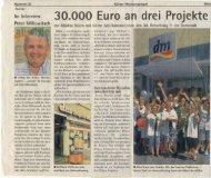 30.000 Euro an drei Projekte - wir für pänz eV