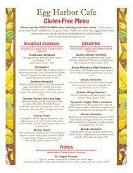 Gluten-Free Menu - Egg Harbor Cafe