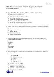 SS06, Klausur Mikrobiologie / Virologie / Hygiene / Immunologie ...
