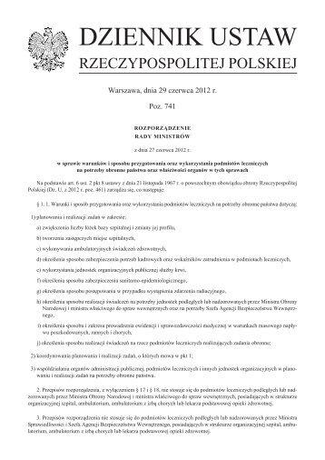 Rozporządzenie Rady Ministrów z dnia 27 czerwca 2012 r. w ...