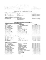 deanship appointments temporary deanship appointments ...