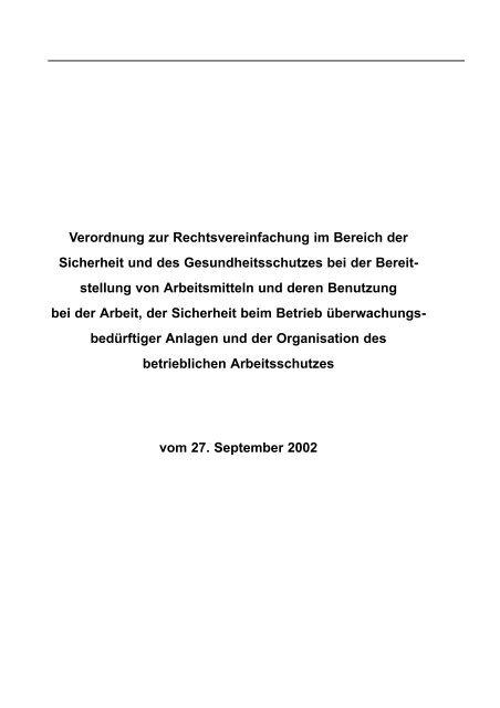 Verordnung zur Rechtsvereinfachung im Bereich der Sicherheit und ...