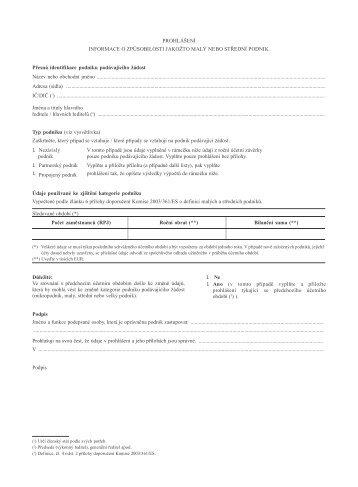 Prohlášení o způsobilosti jakožto malý nebo střední podnik - Ziel 3