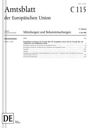 konsolidierte fassung des vertrags über die europäische ... - Europa