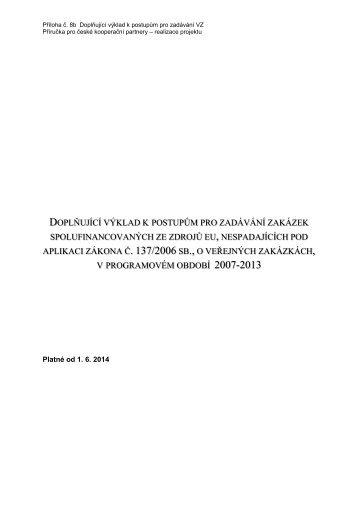 Doplňující výklad k postupům zadávání VZ od 1.7.2012 - Ziel 3