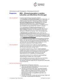 Programm: BMU – Klimaschutzprojekte in sozialen, kulturellen und ...