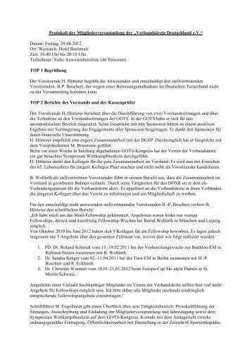 Protokoll der Mitgliederversammlung - Verbandsärzte Deutschland eV