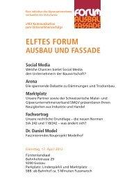 ELFTES FORUM AUSbAU Und FASSAdE Social Media