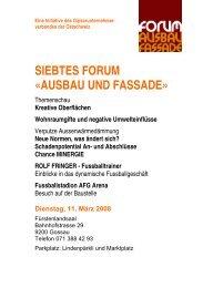 0BSIEBTES FORUM «AUSBAU UND FASSADE» - der GVO