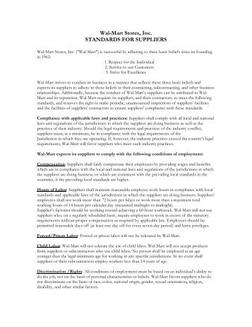 Wal-Mart Stores, Inc. STANDARDS FOR SUPPLIERS