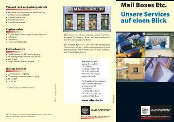 Mail Boxes Etc. Unsere  Services auf einen Blick