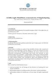 LC2200, Logik: Modellteori, avancerad nivå, 15 högskolepoäng