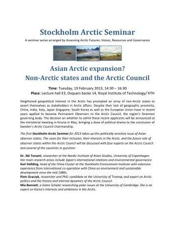 Asian Arctic Expansion seminar - Mistra Arctic Futures in a Global ...