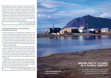 MISTRA ARcTIc FuTuReS In A GlobAl conTexT