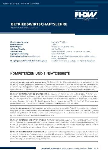 BETRIEBSWIRTSCHAFTSLEHRE - FHDW