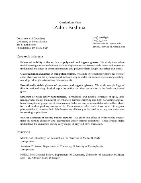 Curriculum Vitae Fakhraai Group University Of Pennsylvania