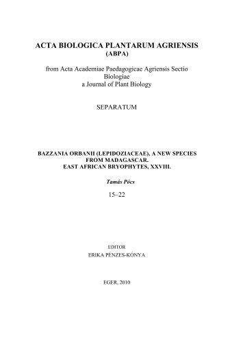 ACTA BIOLOGICA PLANTARUM AGRIENSIS