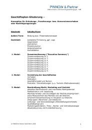 Geschäftsplan-Gliederung – - Pinnow & Partner Unternehmens