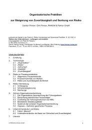 Organisatorische Praktiken - Pinnow & Partner Unternehmens
